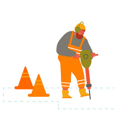 Builder with pneumatic jackhammer drill equipment vector
