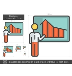 Businessman presentation line icon vector