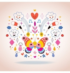Butterfly clouds flowers diamonds raindrops vector image