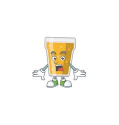 Caricature design mug beer with surprised gesture vector