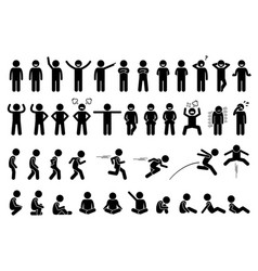 Children basic poses actions postures feelings vector