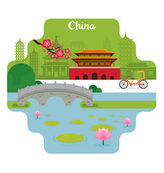 China travel and attraction landmarks vector