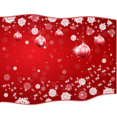 christmas red background with stars and snowflakes vector image