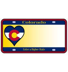 Colorado state license plate vector