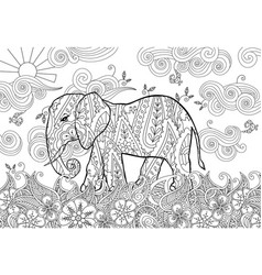 Coloring page with doodle style elephant on the vector