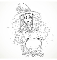 Cute little girl dressed as a witch throwing frog vector