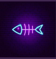 Dead fish neon sign vector