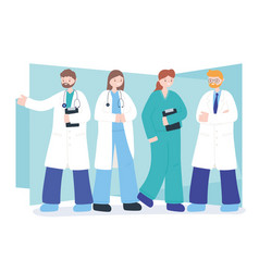 Doctors and nurses team professional physicians vector
