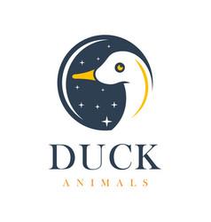 duck and circle logo vector image