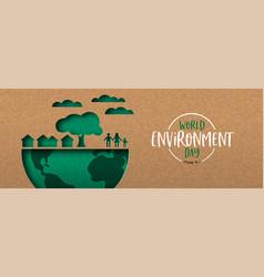 Environment day banner green cutout eco city vector