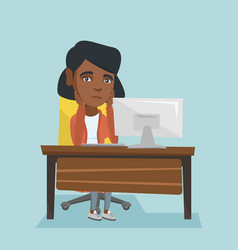 Exhausted african employee working in office vector
