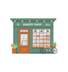 facade bakery shop pastry food products bread vector image