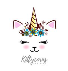 fantasy animal cat kittycorn vector image
