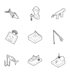 Fish icons set outline style vector image