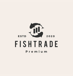 fish trade hipster vintage logo icon vector image