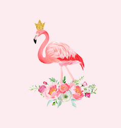 Flamingo with place for baby name for poster print vector