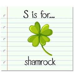 Flashcard letter S is for shamrock vector image