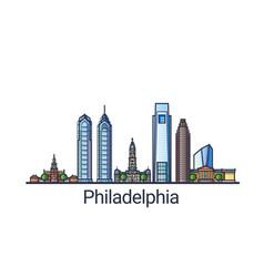 flat line philadelphia banner vector image
