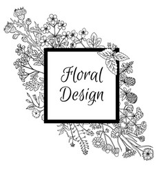 frame decorated with hand drawn flowers in graphic vector image