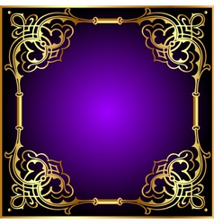 Frame with vegetable and golden pattern vector