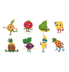fruits fitness vegetables cartoon characters vector image