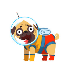 Funny pug dog character dressed as spaceman vector
