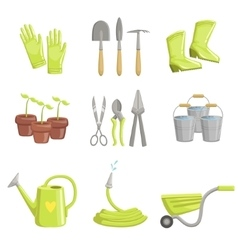 Gardening Equipment Set Of Icons vector image