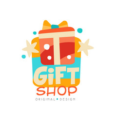 Gift shop logo design template label with gift vector