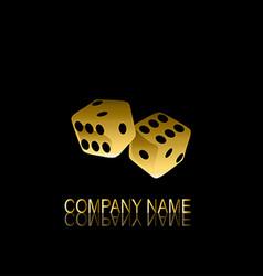 Golden dices symbol vector