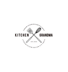 Grandma kitchen logo with cooking equipment vector
