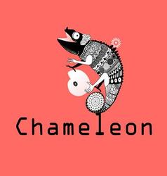 graphic image sitting on the chameleon plan vector image