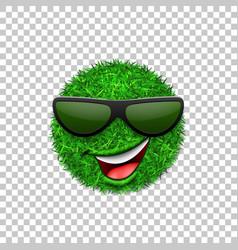 Green grass field 3d face wink smile vector