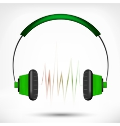 Green headphones vector image