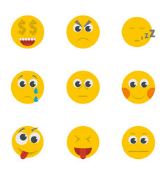 Grin icons set cartoon style vector