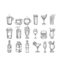 Hand drawn drinks and alcoholic cocktails big set vector