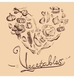 Hand drawn vegetables set with beige background vector image