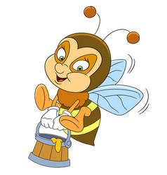 happy bee with honey vector image