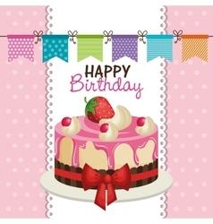 Happy birthday invitation with sweet cake vector