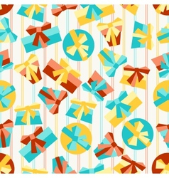 Happy Birthday party seamless pattern with gifts vector image