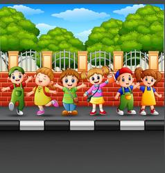 Happy children on the sidewalk vector