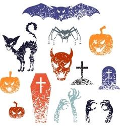 Happy Halloween symbols with grunge texture vector image
