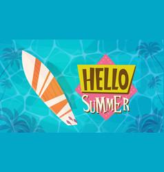 Hello summer vacation sea travel retro banner vector