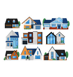 house exterior front set vector image