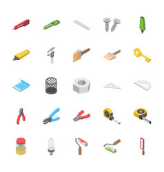 Isometric pack of objects vector