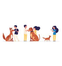 kids and pets children hug pets best friends vector image
