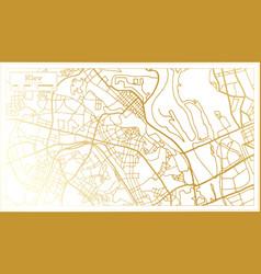 Kiev ukraine city map in retro style in golden vector