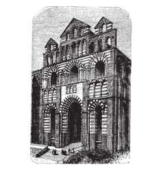 Le puy cathedral facade or west front vintage vector