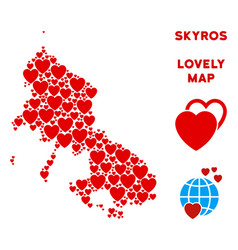 Lovely skyros greek island map composition vector