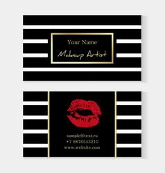 makeup artist stylish business card artistic vector image