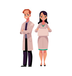 male and female doctors in medical coats man and vector image